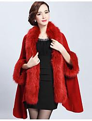 Damen Standard Mantel / Capes-Lässig/Alltäglich Einfach Solide Kunst-Pelz Herbst Winter Mittel Unelastisch