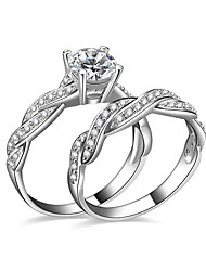 cheap -Women's AAA Cubic Zirconia Couple Rings / Engagement Ring - Silver Plated Love 6 / 7 / 8 Silver For Wedding / Party / Engagement