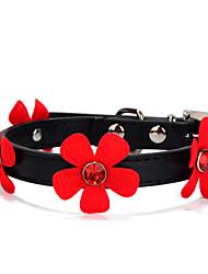 preiswerte -Hund Halsbänder Regolabile / Einziehbar Solide Strass Blume Schwarz Rose Rot Rosa