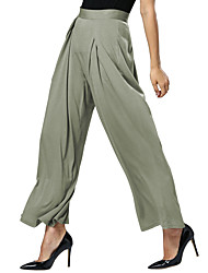 Women's Loose Chinos PantsCasual/Daily Simple / Street chic Solid Wide Leg Mid Rise Elasticity Micro-elastic Spring / Fall