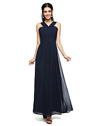 cheap -A-Line Straps Floor Length Chiffon Bridesmaid Dress with Ruched Criss Cross by LAN TING BRIDE®