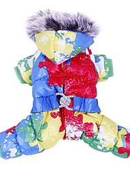 baratos -Cachorro Casacos Roupa Camisola com Capuz Roupas para Cães Estampa Colorida Laranja Amarelo Azul Algodão Ocasiões Especiais Para animais