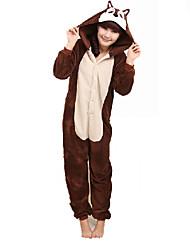 Pyjama Kigurumi  Chipmunk Souris Combinaison Pyjamas Costume polaire Marron Cosplay Pour Adulte Pyjamas Animale Dessin animé Halloween