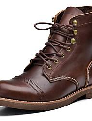Masculino sapatos Pele Napa Inverno Outono Botas Cowboy/Country Botas de Moto Coturnos Botas Botas Cano Médio para Atlético Preto Café