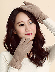 Women's Lamb Fur Wrist Length Fingertips,Casual Solid Winter