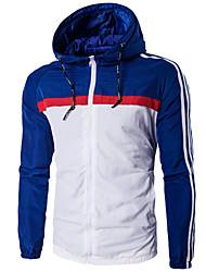 Herren Einfarbig Aktiv Lässig/Alltäglich / Arbeit / Übergröße Jacke,Winter Mit Kapuze Langarm Blau / Rot / Schwarz MittelBaumwolle /