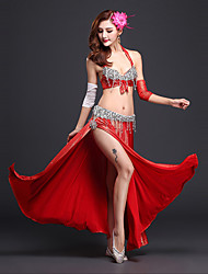 abordables -Danse du ventre Tenue Femme Utilisation Spandex Fibre de Lait Paillette Avant Fendu Sans Manches Taille moyenne Jupe Soutien-gorge
