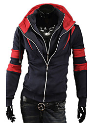 Men's Casual/Daily Street chic Hoodie Jacket Color Block Striped Stand Micro-elastic Cotton Long Sleeve Fall Winter