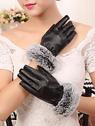 pu ponta dos dedos de comprimento de pulso de pele de coelho das mulheres adicionar lã perturbar bonito / partido / casuais moda inverno