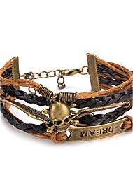 Femme Bracelets Bracelets en cuir Bracelet Loom Bracelet Cuir Alliage Style Punk Forme de Tête de Mort Ailes / Plume Café Bijoux 1pc
