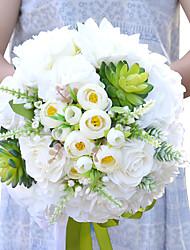 preiswerte -Hochzeitsblumen Rundförmig Rosen Sträuße Hochzeit Partei / Abend Polyester Satin Trockenblume ca.25cm