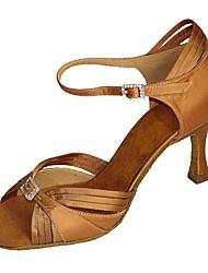 cheap -Women's Latin Jazz Swing Shoes Salsa Satin Sandal Heel Indoor Performance Professional Beginner Practice Rhinestone Buckle Customized Heel