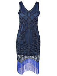 bainha / coluna v-pescoço curto / mini vestido de festa de cocktail de poliéster com lantejoulas