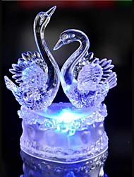 LED Crystal Two Swan Colorful Decoration Atmosphere Lamp Novelty Lighting Christmas Light