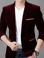 cheap -Men's Daily Vintage Street chic Winter Fall Blazer,Solid Notch Lapel Long Sleeve Regular Cotton