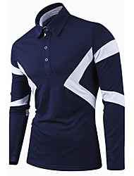 Men's Daily Casual Spring / Fall ShirtSolid / Patchwork Shirt Collar Long Sleeve Blue / White / Black / Gray Cotton Medium Hot Sale