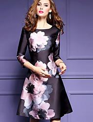 Patineuse Robe Femme Travail Sortie Chinoiserie,Fleur Col Arrondi Au dessus du genou Autres Automne Taille Haute Micro-élastique Moyen