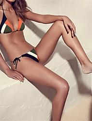 abordables -Femme Licou Bikinis Maillots de Bain Blocs de Couleur Orange
