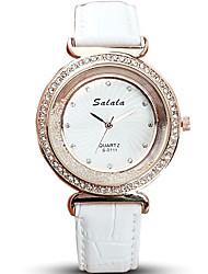 Women's Fashion Watch Wrist watch Floating Crystal Watch Quartz / Imitation Diamond Rhinestone Leather Band Cool Casual Elegant Black