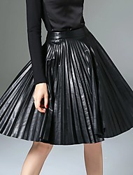 XSSL Women's A Line Solid Pleated Skirts,Going out / Casual/Daily / Work Simple / Street chic / Punk & Gothic Mid Rise Knee-length Zipper PU