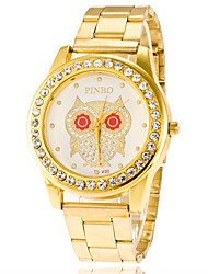 cheap -Business Men Women Watch Casual  Ladies Gold Quartz Stainless Steel Band Watch Of Owal Dial With Rhinestone Watch