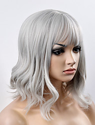 cheap -Women Synthetic Wig Capless Short Natural Wave Grey Bob Haircut With Bangs Natural Wig Halloween Wig Carnival Wig Costume Wigs