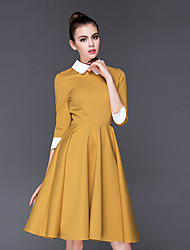 Women's Casual/Daily Simple A Line Dress,Solid Shirt Collar Above Knee Long Sleeves Cotton Fall Winter Mid Rise Inelastic Medium