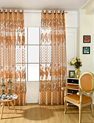 Grommet Top One Panel Curtain Neoclassical European Flower Living Room PVC Material Sheer Curtains Shades Home Decoration