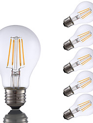 E26 LED Filament Bulbs A60(A19) 4 COB 350 lm Warm White 2700 K Dimmable AC 110-130 V
