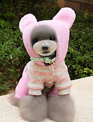 cheap -Dog Costume Hoodie Jumpsuit Dog Clothes Cute Cosplay Stripe Brown Pink Costume For Pets