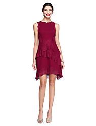preiswerte -A-Linie Schmuck Knie-Länge Spitze Georgette Cocktailparty Ball Kleid mit Spitze durch TS Couture®