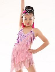 cheap -Belly Dance Leotards Children's Performance Polyester Appliques Tassel(s) 1 Piece Sleeveless Natural Leotard