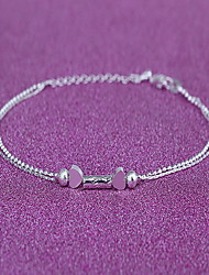 Woman Silver Alloy Heart Lobster Clasp Anklet