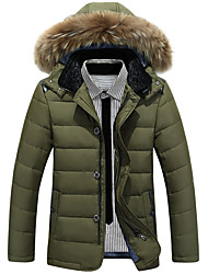 Men's Regular Down Coat,Street chic Sophisticated Sports Work Solid-Polyester White Duck Down Long Sleeves Shirt Collar