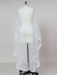 cheap -One-tier Lace Applique Edge Wedding Veil Blusher Veils Elbow Veils Fingertip Veils 53 Appliques Tulle