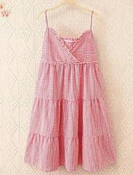 Damen A-Linie Kleid-Lässig/Alltäglich Einfach Solide V-Ausschnitt Mini Ärmellos Rosa Baumwolle Sommer Mittlere Hüfthöhe Mikro-elastisch