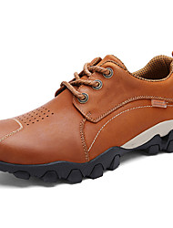 Men's Oxfords Comfort Fall Winter Nappa Leather Hiking Shoes Athletic Casual Outdoor Light Brown Khaki Under 1in