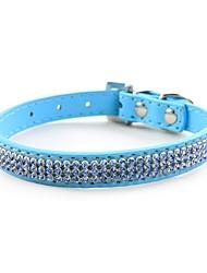 cheap -Dog Collar Adjustable / Retractable Handmade Mosaic Hearts Rhinestone PU Leather Black Red Blue Pink