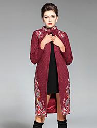 Dámské Výšivka Běžné/Denní / Velké velikosti Čínské vzory Kabát-Polyester Zima Dlouhý rukáv Modrá / Červená / Zelená