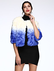 Women's Casual/Daily Simple Fur Coat,Color Block ¾ Sleeve Winter Blue Faux Fur Thick