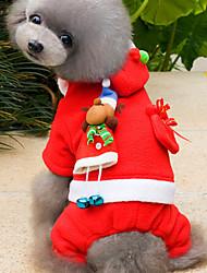 abordables -Chat Chien Costume Pulls à capuche Vêtements pour Chien Mignon Noël Couleur Pleine Rouge Costume Pour les animaux domestiques