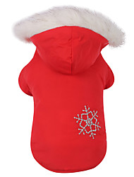 Dog Coat / Hoodie Red / Brown Dog Clothes Winter Snowflake Keep Warm / Reversible / Christmas