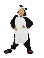 cheap -Kigurumi Pajamas Panda Onesie Pajamas Costume Polar Fleece Black Cosplay For Kid Animal Sleepwear Cartoon Halloween Festival / Holiday