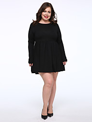 cheap -Women's Daily Plus Size Casual Little Black Dress,Solid Round Neck Above Knee Long Sleeves Cotton Fall Mid Rise Micro-elastic Medium