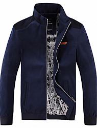 Herren Solide Einfach Lässig/Alltäglich / Übergröße Jacke,Frühling / Herbst Ständer Langarm Blau / Beige MittelBaumwolle / Acryl /