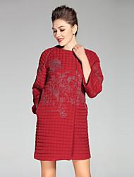 Damen Stickerei Anspruchsvoll Lässig/Alltäglich / Übergröße Mantel,Winter Rundhalsausschnitt ¾-Arm Rot / Schwarz / Grün Polyester