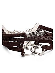 お買い得  -女性用 レザー ふくろう 織機ブレスレット ブレスレット レザーブレスレット  -  欧風 パンク Brown ブレスレット 用途 誕生日 卒業 贈り物