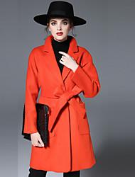 Damen Solide Einfach Lässig/Alltäglich Mantel,Herbst / Winter Gekerbtes Revers Langarm Rot Wolle