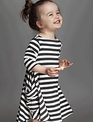 economico -Vestito Girl Casual Misto cotone A strisce Primavera / Autunno Manica lunga