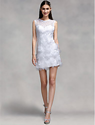 Sheath / Column Illusion Neckline Short / Mini Lace Wedding Dress with Flower by LAN TING BRIDE®